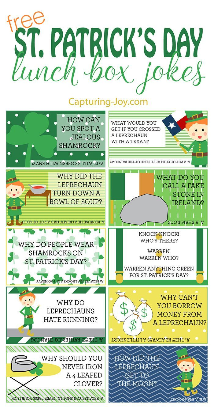 Free printable St. Patricks Day Lunch Box Jokes for your kids!  Grab them on http://Capturing-Joy.com!