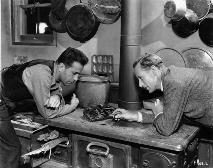 "Humphrey Bogart and Leslie Howard in ""The Petrified Forest."" Bogart later named his daughter Leslie Howard Bogart to honor Howard because he credited him with starting his career."
