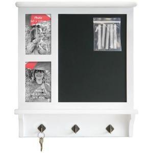 Tableau cadre photo : 2 Photos avec Ardoise et Porte Clés Blanc 10 x 15 cm…