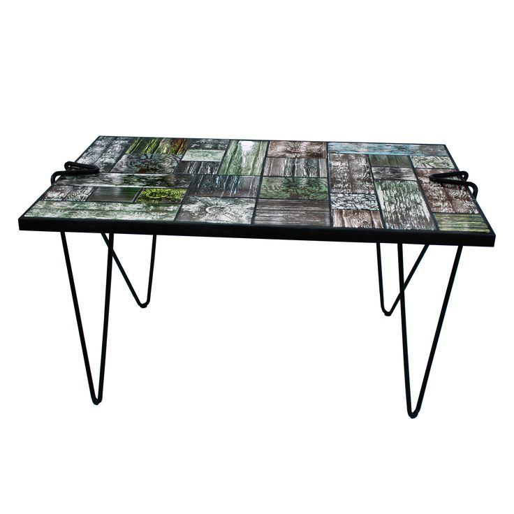 Wannabe Wood - the table. Ceramic tile top table screen printed with woody print textures to make it look like a coffee table made from recycled wood.   Hand printed in our studio in Copenhagen.   Link here: http://www.arttiles.eu/wannabe-wood-the-table.html  ARTTILES