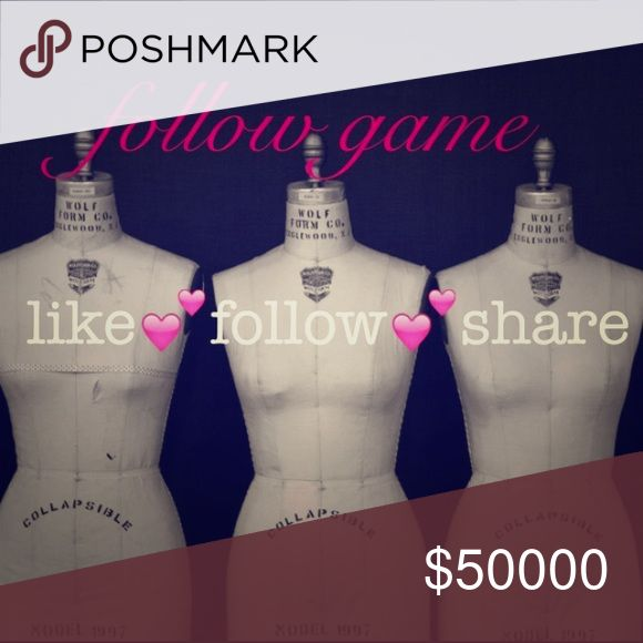 ❤️New Follow Game❤️ My first FG. LIKE FOLLOW SHARE   Tag people please.  I'm new to Poshmark but been selling online for 2 years.  Help me gain followers  Shirts & Tops