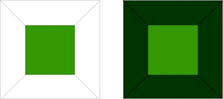 緑の彩度対比