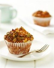 Banana, Cinnamon and Carrot Muffins with Crunchy Nut Topping