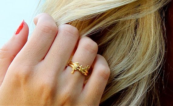 ahoy . nautical anchor ring . stacking ring by trystjewellery