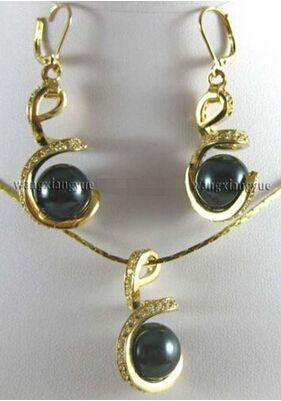 12 мм черный юг морские раковины жемчужные серьги и ожерелья комплект ааа > прекрасный женская свадебные украшения довольно