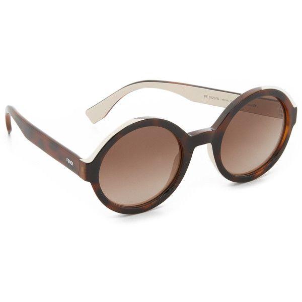 Fendi Round Sunglasses ($305) ❤ liked on Polyvore featuring accessories, eyewear, sunglasses, fendi sunglasses, polarized sunglasses, fendi glasses, round glasses and fendi eyewear