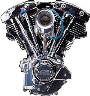"""Shovelhead  En 1970 le """"Pan-shovel"""" disparait suite à la modification du bas moteur qui intègre maintenant l'alternateur moins volumineux que la génératrice. Un plateau d'allumage à vis platinées est placé dans le nouveau carter de distribution en forme de cône, la cylindrée reste à 1200cc, il faudra attendre 1978 pour que le shovel passe à 1340cc (80ci) et 65cv, il termine sa carrière en 1983 avec l'arrivée du Blockhead."""