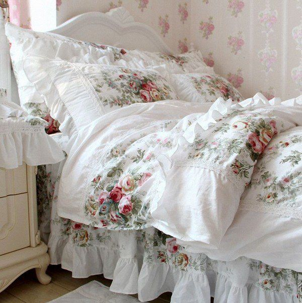 Shabby Chic Bedding Sets Design Ideas White Floral Prints Bed