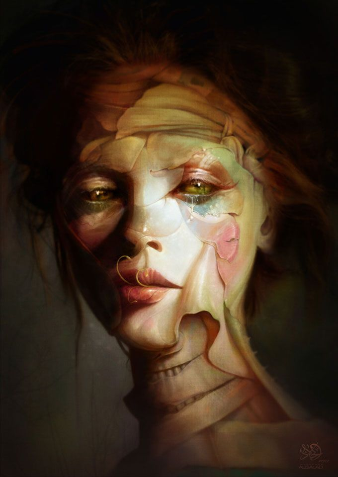 This is one interesting art work. You can definitely sense the pain in her eyes and her body language.