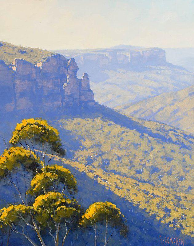 Blue Mountain Govetts Leap Landscape Australian Landscape Painting 2019 Oil Painting By Graham Gercken Australian Govetts Landscape Mountain Painting 2020