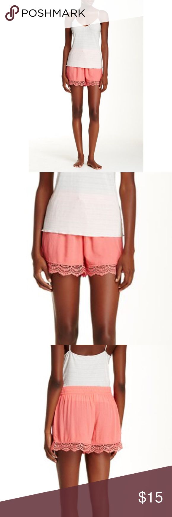 Woven Crochet Short Coral Nordstrom Woven short with crochet bottom. Coral colored. Brand new with tags. Shorts
