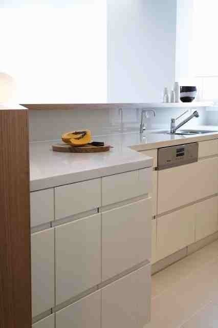 Kitchen with counter hidden from living space. Brooke Aitken Design.