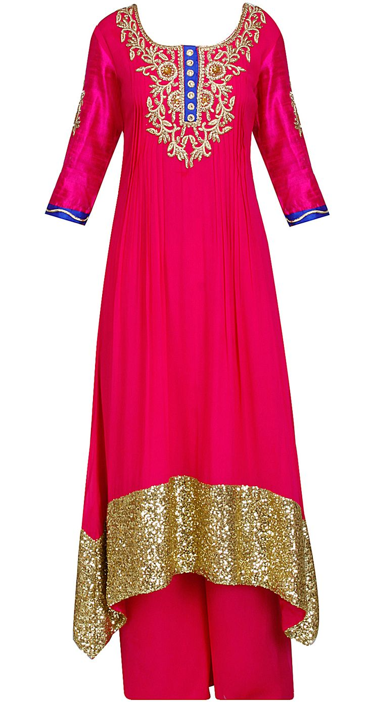 Fuschia kurta with A-line asymetrical flared hemline by SONAL KALRA AHUJA. Shop now only at www.perniaspopupshop.com! #sonalkalraahuja #fuschia #kurta #flared #ethnic #perniaspopupshop #designer #fashion #style #chic #trendy #clothes #shopnow #happyshopping