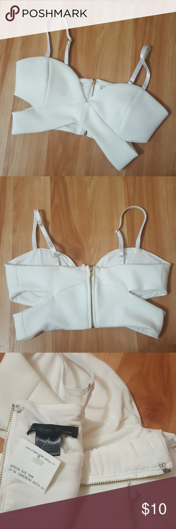 EUC Caribbean Queen White Cross Bandeau Top - S Bought from Crossroads Trading, but never worn!   - Adjustable straps  - 92% Polyester, 8% Spandex - Gold zipper back with hook  Looks cute with a pencil skirt for a night out!  Sorry, no trades. Offers accepted. Thank you!  Caribbean Queen Tops Crop Tops