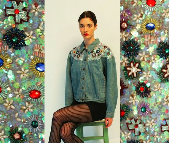 Made in Italy, jeans jacket with sequins. Cotton. Marked size Medium.  No flaws, excellent condition.