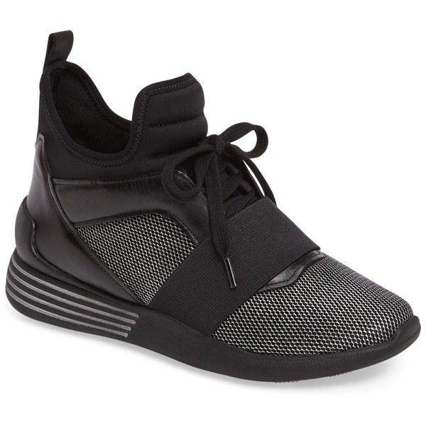 Kendall & Kylie Braydin Hidden Wedge Sneaker (80 PAB) ❤ liked on Polyvore featuring shoes, sneakers, simfb, high top hidden wedge sneakers, wedge lace up shoes, lace up sneakers, wedge high tops and high top wedge sneakers