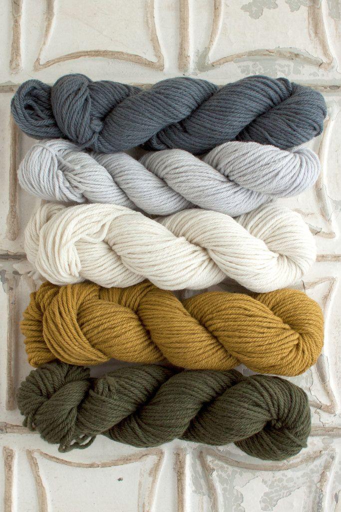 Beautiful natural neutrals in organic merino wool yarn. Ash, Overcast, Natural, Mustard Seed, and Evergreen.