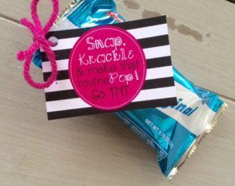 Customized Cheerleading Good Luck Rice Krispie Treat Favor Tags- PDF file SNAP, Krackle, Pop