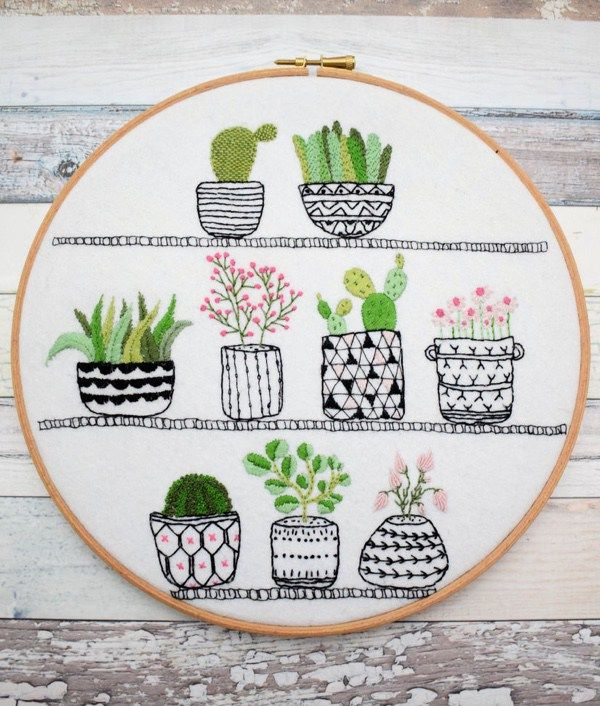 Rosie S House Plants Hand Embroidery Hoop Succulents Pdf Instant Download Pattern Hand Embroidery Kit Modern Embroidery Kit Embroidery Kits