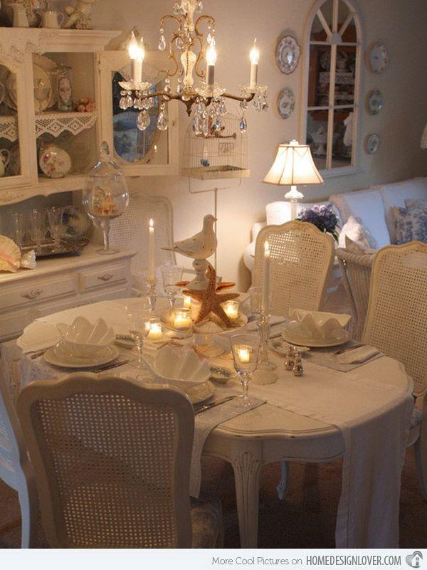 Delightful Romantic Dining Room Ideas Part - 13: 35+ Beautiful Shabby Chic Dining Room Decoration Ideas
