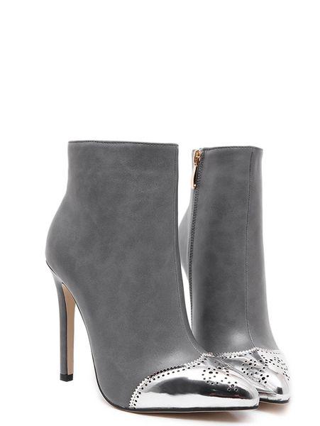 Chic Sexy Contrast Color Zipper Point Toe Slim Heel Women Boots