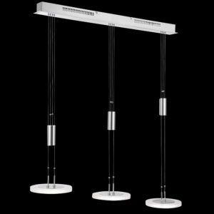 Höhenverstellbare Hängeleuchte in Mattnickel und Chrom und drei LED
