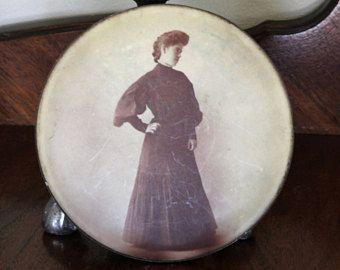 Vintage 1900s Edwardian Victorian Woman Photograph / Black And White Sepia Portrait Lady / Celluloid Brass Coumbia Portrait Co Chicago