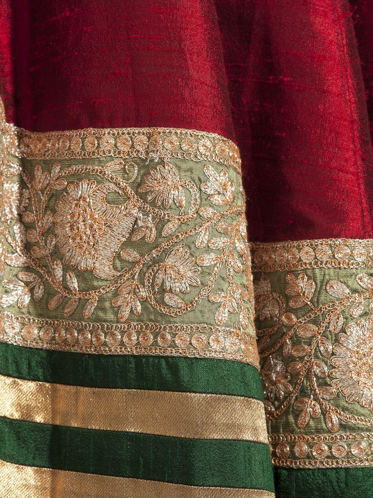 Manish Malhotra - Maroon raw silk lehenga
