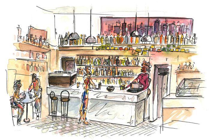 Il bancone del Caffè Olè (da Linda) a Bologna, Zona universitaria, illustrato da @malacsam