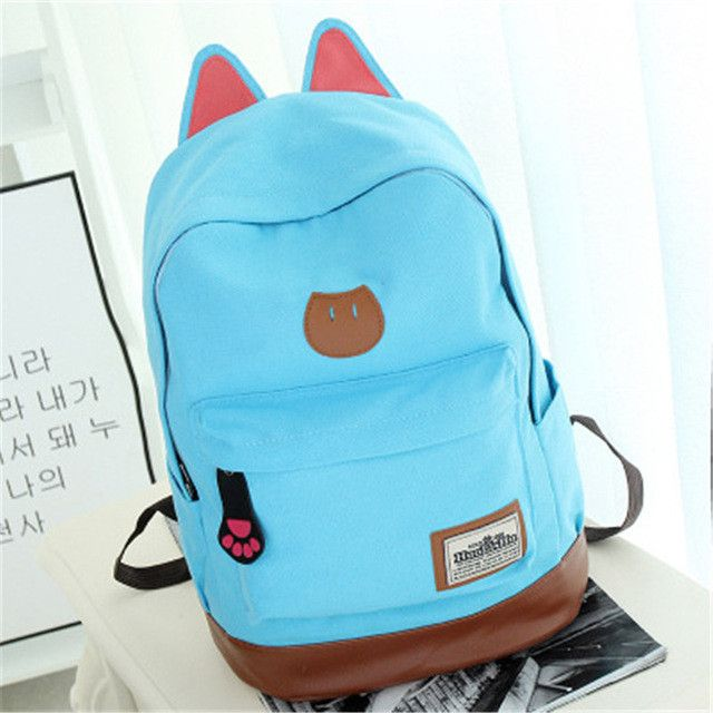 2017 Fashion Campus Girls Backpack Women Travel Bag Young Men Canvas Backpack New Fashion School Bags Cat Ears Bags