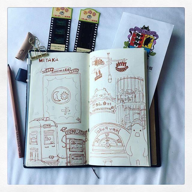 Aug 06 #三鷹の森ジブリ美術館 #三鷹 #ghiblimuseum #techo #travelersnotebook 写真はいけませんですか、手帳に描きました #artjournal #illustration #theydrawandtravel