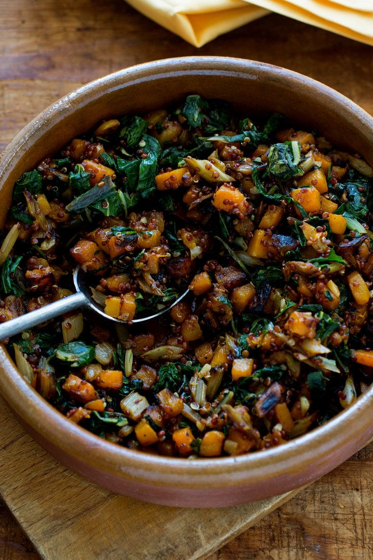 Sautéed Winter Squash With Swiss Chard, Red Quinoa and Aleppo Pepper  Add a squeeze of lemon  , maybe onion. Use any quinoa