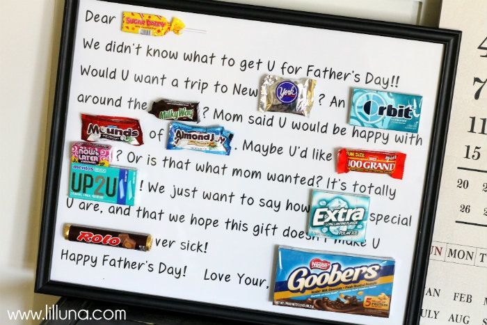 Father's Day Gift Idea: Fathers Day Candy Bar Poster