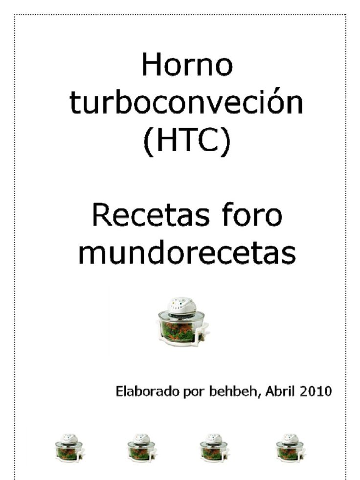 Recetario compilación de recetas para horno turbo convección de Behbeh.
