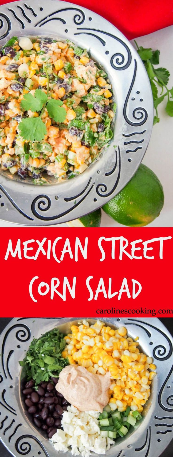 This Mexican street corn salad is easy to prepare and packed with delicious fresh flavors. With a healthier dressing, it makes a great side or potluck salad. Plus, perfect for Cinco de Mayo, of course. GF, vegetarian