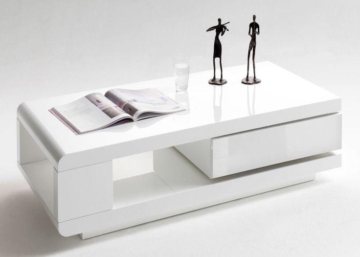 Couchtisch mit Schublade 59031 Wohnzimmertisch Weiß Hochglanz 8816