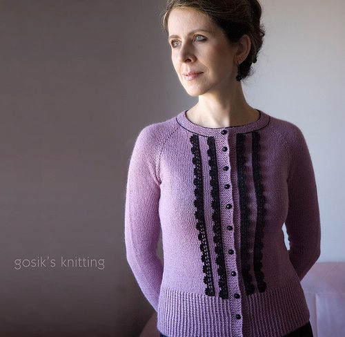 Miss Mary is tiny, fitted, vintage-inspired feminine cardigan. The cardi is worked in stockinette stitch, from the top down, in one piece with raglan shaping and features contrasted buttons and fri...