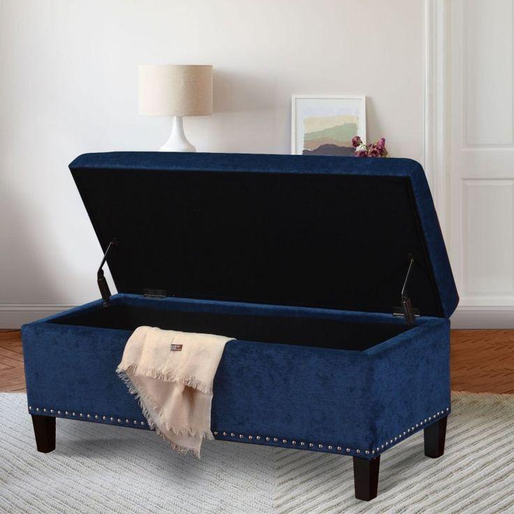 $129.99 - Adeco Royal Blue Microfiber Rectangular Tufted Storage Bench  Ottoman Footstool 42x18 - Free Shipping - 10 Best Ottomans Images On Pinterest Ottomans, Ottoman Footstool