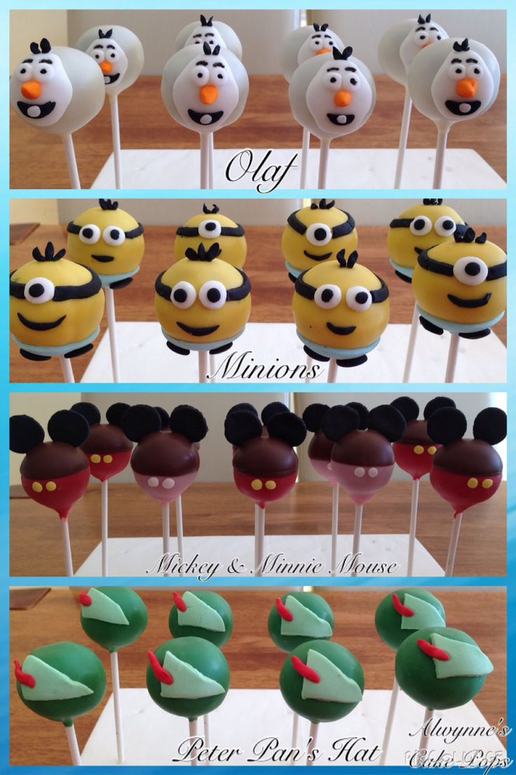 Cake Pops- Olaf, Minion, Mickey & Minnie Mouse, & Peter Pan's Hat