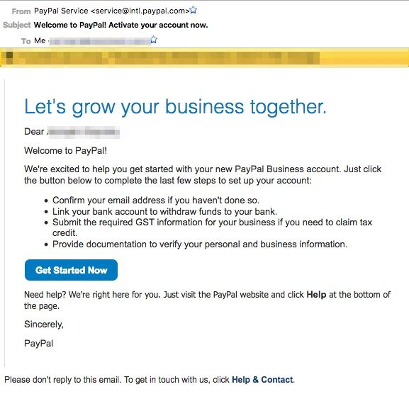 Email after Creation of Indian Paypal account | paypal