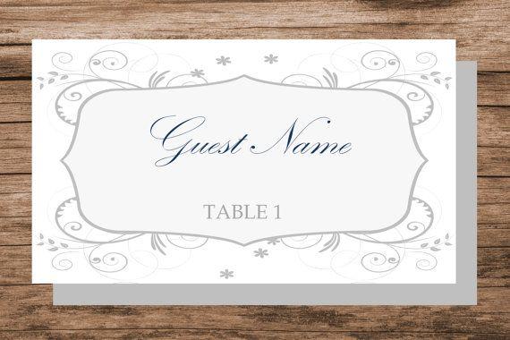 Floral swirls place card template printable by WeddingTemplatesHub