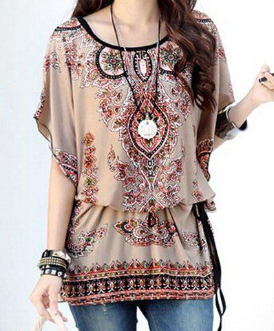 Ethnic Style Scoop Neck Batwing Sleeves Print Loose T-Shirt For Women