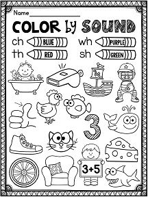 Phonics worksheets galore - color by sound for digraphs ch th sh wh