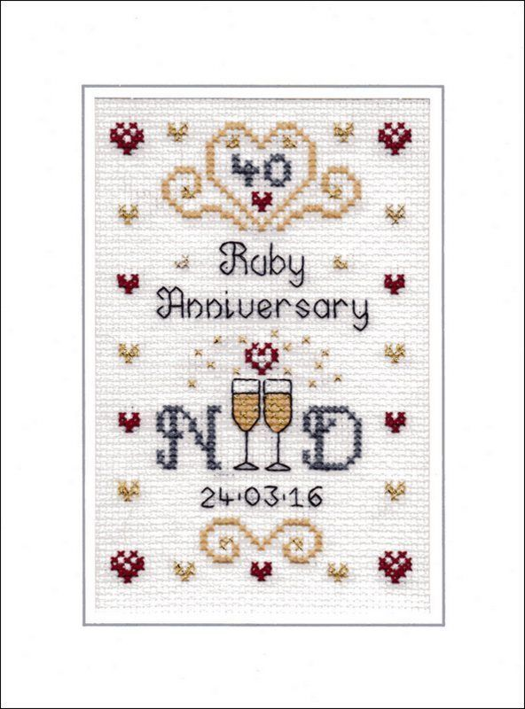 Ruby Wedding Anniversary cross stitch card kit                                                                                                                                                      More