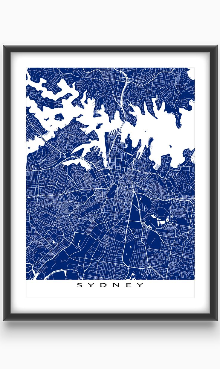 Sydney, New South Wales, #Australia  Modern, graphic and eye-catching. #Sydney #map print with a white #street network design. Perfect for your #travel wall or to add to your existing home #decor.
