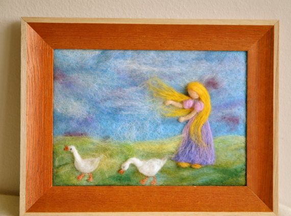 Waldorf inspired needle felted Fairy Tale/ Wool Painting:The Goose girl. $55.00, via Etsy.