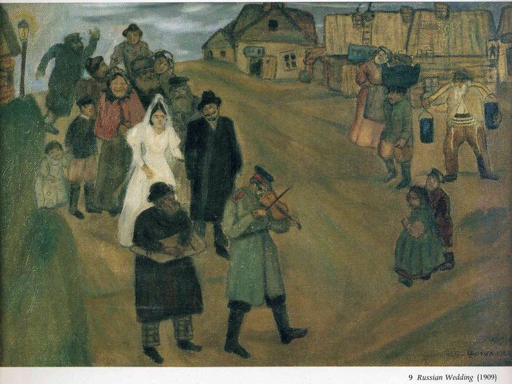 Russische bruiloft in 1909 de eerste werken van Marc Chagall in Rusland