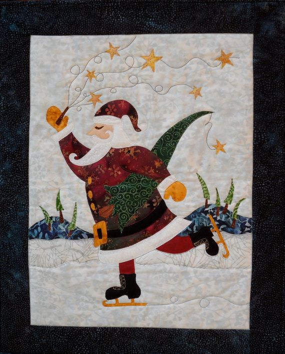"""""""Santa On Ice"""" Wall Hanging Pattern by cre8ive quilter at etsy"""