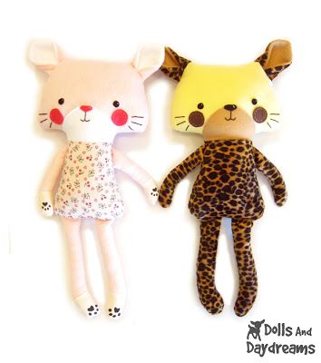 * Dolls And Daydreams - Doll And Softie PDF Sewing Patterns: Cat Kitten Tiger Leopard PDF Softie Stuffed Toy Sewing Pattern Finished