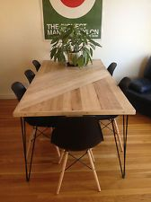 Industrial table with angular wood shapes
